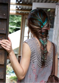 Loving the Fishtail braids- but the pop of blue definitely makes me love this idea more... possibly try to recreate this with a chalk...