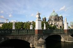 Berlin. The Schloßbrücke or Palace Bridge connected Unter den Linden with Berlin's palace. The bridge is adorned with eight statues depicting a heroic warrior's life, from his early youth to his death. Read full article...