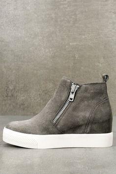 05b3c7704d91 Wedgie Grey Suede Leather Hidden Wedge Sneakers
