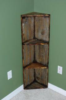 Reclaimed Rustics: Barn Wood Corner Shelf DIY