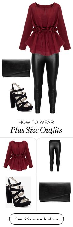 """""""Untitled #23"""" by keishaluvs on Polyvore featuring Zizzi, BCBGeneration, Witchery, black, red, Leggings and plussize"""