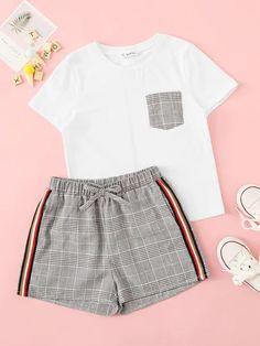 Ensemble 2 pièces jupe et t-shirt Pajama Outfits, Lazy Outfits, Cute Comfy Outfits, Cute Girl Outfits, Cute Summer Outfits, Outfits For Teens, Stylish Outfits, Teenage Girl Outfits, Girls Fashion Clothes