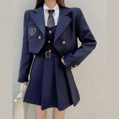 Korean Outfits School, School Uniform Outfits, Cute School Uniforms, Stage Outfits, Cute Skirt Outfits, Cute Casual Outfits, Pretty Outfits, Stylish Outfits, Korean Girl Fashion