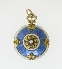 EXQUISITE ANTIQUE ART NOUVEAU 14K YG LOCKET WITH WHITE AND BLUE ENAMEL, DIAMOND #vintage #artnouveau