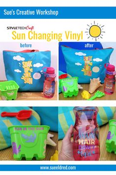 StyleTechCraft now has vinyl that changes with the Sun. How cool is that? In anticipation of our Big Family Beach Vacation coming up, I embellished a few fun items that we can take with us. @styletechcraft #summertime #summerfun #colorchange Creative Workshop, Big Family, Most Favorite, My Happy Place, Decoration, Summer Fun, Color Change, Summertime, Diy