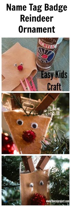Easy, Reindeer Ornament made from a name tag badge. Great kids craft! {The CSI Project} #reindeer #ornament #christmas