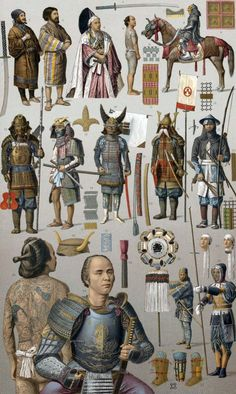 A lithograph plate showing Samurai warriors in a variety of different costumes, early 19th century Japan, 1888, by Albert Racinet (1825-1893).