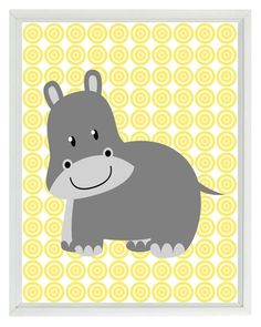 Yellow Gray Nursery Hippo Safari Wall Art Print by RizzleandRugee with violet background $15
