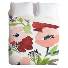 Pink Poppies Duvet Cover in a colorful watercolor design. Add a pop of color to your bedroom decor. Available in Twin/Queen/King
