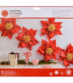Martha Stewart Crafts Red Tissue Paper Flower Kit-Holiday Lodge
