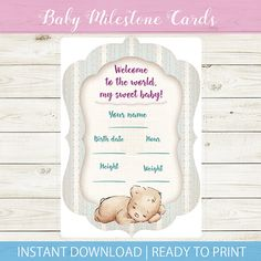 This listing is for one (1) gorgeous Photo Milestone Card from the Baby Milestone collection of Kristabella Creations. You will receive a PDF file with one baby card size A5. Use it to write your baby`s birth information - date, hour, name, weight and height. You can also use the card as a photo props - fill in the baby`s birth info and take a photo of your little bundle of joy next to the card. You will have a great keepsake for your baby`s memory book!  If you want to purchas...