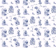 AliceToile-BLUE background fabric by avelis on Spoonflower - custom fabric