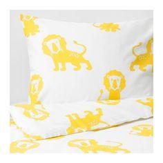 DJUNGELSKOG Dekbedovertrek met 1 sloop, leeuw, geel leeuw/geel 140x200/60x70 cm