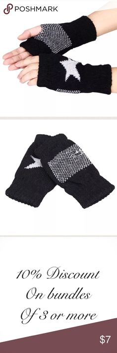 """🇺🇸Unisex Fingerless Gloves These trendy gloves will keep your hands warm all winter long. Made of 80% acrylic and 20% Lycra. The thumb holes & knuckles are reinforced with stitching. They're cuffed at the wrist & knuckles. There's plenty of stretch to fit most hand sizes. Measurements: 6.25"""" from top to bottom & 3.5"""" from side to side (unstretched). PLEASE NOTE The star is a light gray.  #0907 Accessories Gloves & Mittens"""
