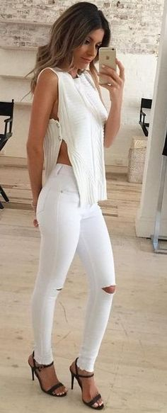 #summer #feminine #fashion  #outfitideas |  White +  White