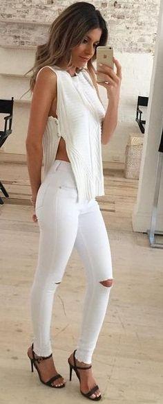 #summer #feminine #fashion  #outfitideas | White +  White