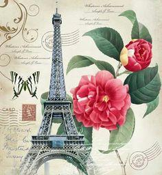 Paris with Love Paris Vintage, Floral Vintage, Vintage Diy, Vintage Ephemera, Vintage Images, Vintage Pictures, Tour Eiffel, Paris Romance, 5d Diamond Painting