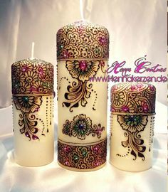 Henna Candles More Best Candles, Diy Candles, Scented Candles, Pillar Candles, Decorative Candles, Candle Art, Candle Stand, Luminaria Diy, Henna Candles