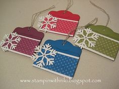 stampin up christmas gift card holders | gift tags w/ stampin up stuff. Use for 2013 name draw for gift ...