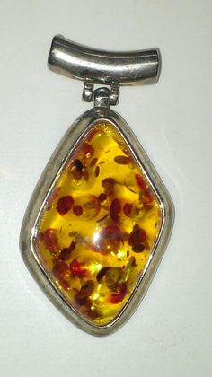 Vintage Honey Amber Lucite Confetti Silver by ArtsyMysticDesigns, $35.00 Handmade Jewellery, Flask, Confetti, Amber, Honey, Silver, Vintage, Accessories, Jewelry