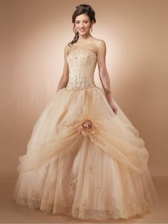 Embroidery Ball Gown Strapless Sleeveless Floor-length Organza Prom Dress