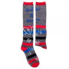 Harley Quinn Daddy's Little Monster Striped Knee High Socks - 381137 | trendyhalloween.com