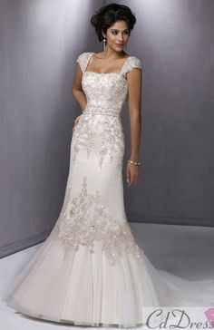 mermaid wedding dress. Remove the cap sleeves and give it a sweetheart neckline!