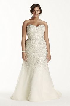 Galina Signature - Strapless Crystal Beaded Tulle Fit and Flare Gown Style 9SWG688