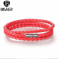 1.89$  Watch now - BISAER Cheap Wholesale Fashion Men & Women Leather Bracelet with Adjustable Long Chain Magnet Red Bracelets Jewelry WEV0063-6   #magazine