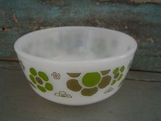 Anchor Hocking Fire King Berry Bowl Green Flowers Milk Glass $6