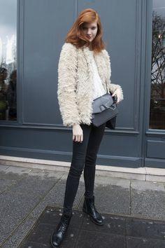A fuzzy coat and crossbody bag  - Model #Streetstyle at Paris Fashion Week #PFW