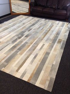 9 x 12 Ft. Luxury Patchwork Cowhide Rug  Gray by NaturalCowHide, $2160.00