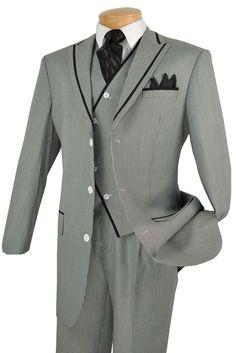 Vinci White Mini Check  Vested Mens Fashion Suits 33HS-1 Size 40 Reg