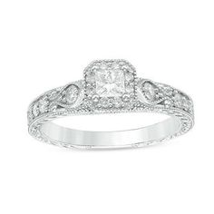 1/2 CT. T.W. Princess-Cut Diamond Frame Vintage-Style Engagement Ring in 10K White Gold - View All Rings - Zales