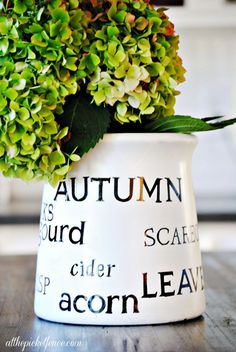 DIY Stenciled Fall Favorites Jar...stencil your favorite seasonal words using stickers and spray paint.