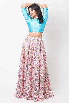 Pink and blue lehenga. This 2 piece lengha features a blue lycra mirror embellished crop top & a colorful lengha with mirror details/ tassels. Blue Lehenga, Indian Lehenga, Lehenga Choli, Ethnic Fashion, Indian Fashion, Women's Fashion, Embellished Crop Top, Floral Crop Tops, Indian Wear