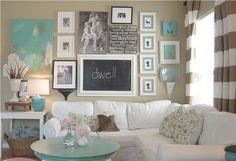 Decor Home Decors With Lots Of Photos And Wall Hangings White Sofa And A Wooden Table In Blue Table Lamp Flower Vase Curtain Windows Wicker Basket White Table Abstract Painting Learn More about Two Types of Home Decors