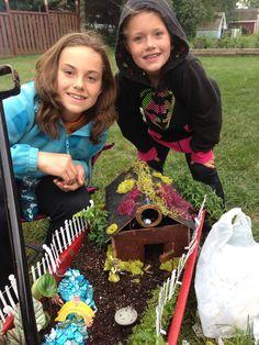 Our fairy garden in a wagon
