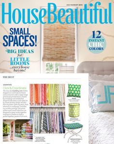 Guildery featured in House Beautiful's July/August Issue. Showcasing a large selection of print on demand fabrics and home decor furnishings. @housebeautiful