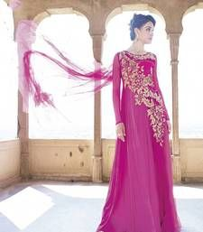 Buy Beautiful Soft Net Hand Embroidered Rani Pink Coloured Wedding Traditional Gowns party-wear-gown online