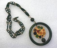89a3cdd37f61 Vintage Bakelite   early plastic multicolour polka dot pendant necklace