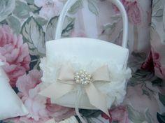 Flower Girl Basket Shabby Chic Vintage Ivory and Cream Custom Colors Wedding Basket. $25.00, via Etsy.