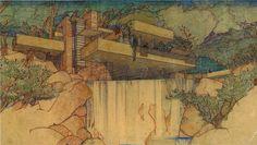 """Edgar J. Kaufmann House (aka """"Fallingwater"""") Sketch - Frank Lloyd Wright"""