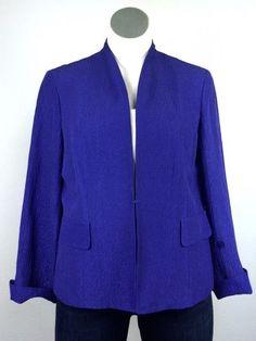 Jones New York 14W Blue Purple Silk Linen Blazer Jacket 14 Mandarin Earthy Asian #JonesNewYork #BlazerJacket