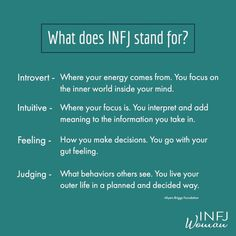 What does INFJ stand for? Infj Traits, Infj Mbti, Intj And Infj, Enfj, Infj Personality, Myers Briggs Personality Types, Advocate Personality Type, Infj Type, Psychology Quotes