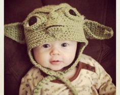 c3po hat pattern crochet | Made to Order Crochet Baby Yoda Ear Flap Hat ...
