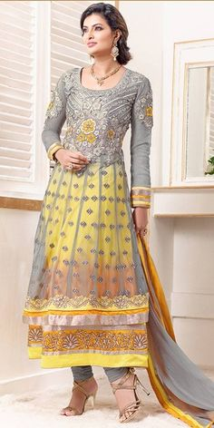 Fancy Grey And Yellow Net Anarkali Suit. @http://www.maalpani.com/latest-arrivals.html