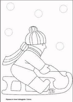 Schede di pregrafismo Christmas Quilt Patterns, Winter Activities For Kids, Hat Crafts, Winter Season, Stitch Patterns, Coloring Pages, Kindergarten, Preschool, Projects To Try