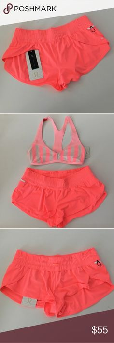 """{ Lululemon } Reversible Swim shorts Lululemon Reversible Swim Shorts UPF 50+, drawcord at waist to adjust fit, low rise, 2"""" inseam, key pocket with loop. Both sides this coral color with logo. Super cute! This listing is only for shorts. lululemon athletica Swim"""