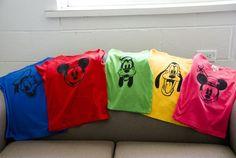 Freezer paper stencil shirts for Disney trips